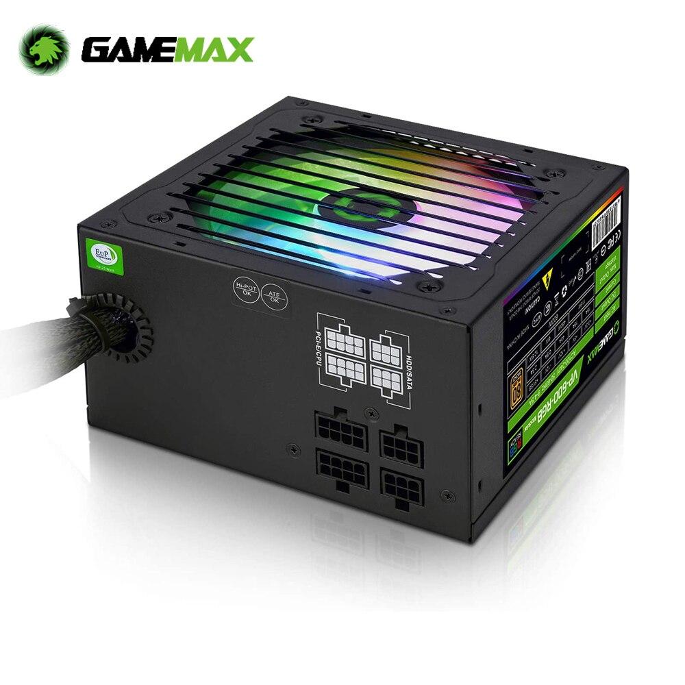 GameMAX VP-600-M-RGB RGB PC Power Supply 600W Semi Modular 80+ Bronze PSU PFC Silent Fan PC Computer SATA Gaming PC Power Supply 1