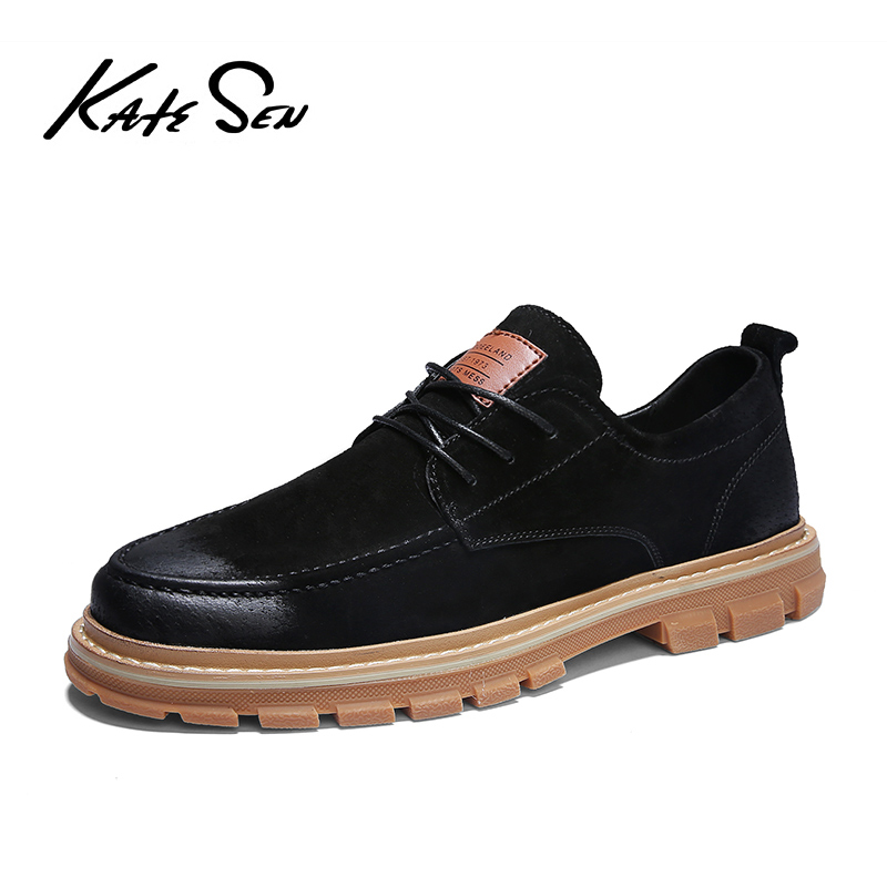 KATESEN 2019 Autumn New Men Shoes Men Martens Shoes Brogue Casual Shoes Men Genuine Leather Shoes Work Business Casual Shoes
