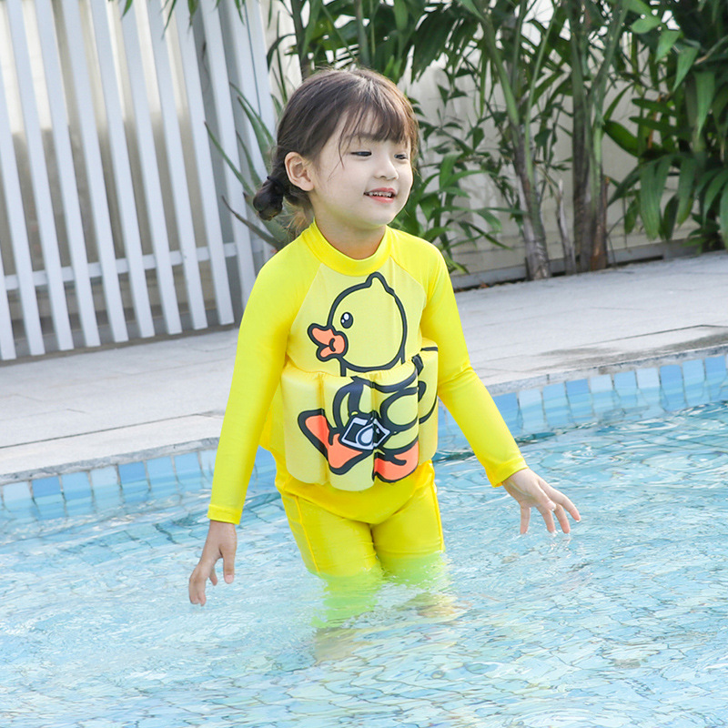 2019 New Style Hot Sales One-piece Buoyancy Bathing Suit Send Swimming Cap Cartoon Small Yellow Duck Long Sleeve Trousers Girls