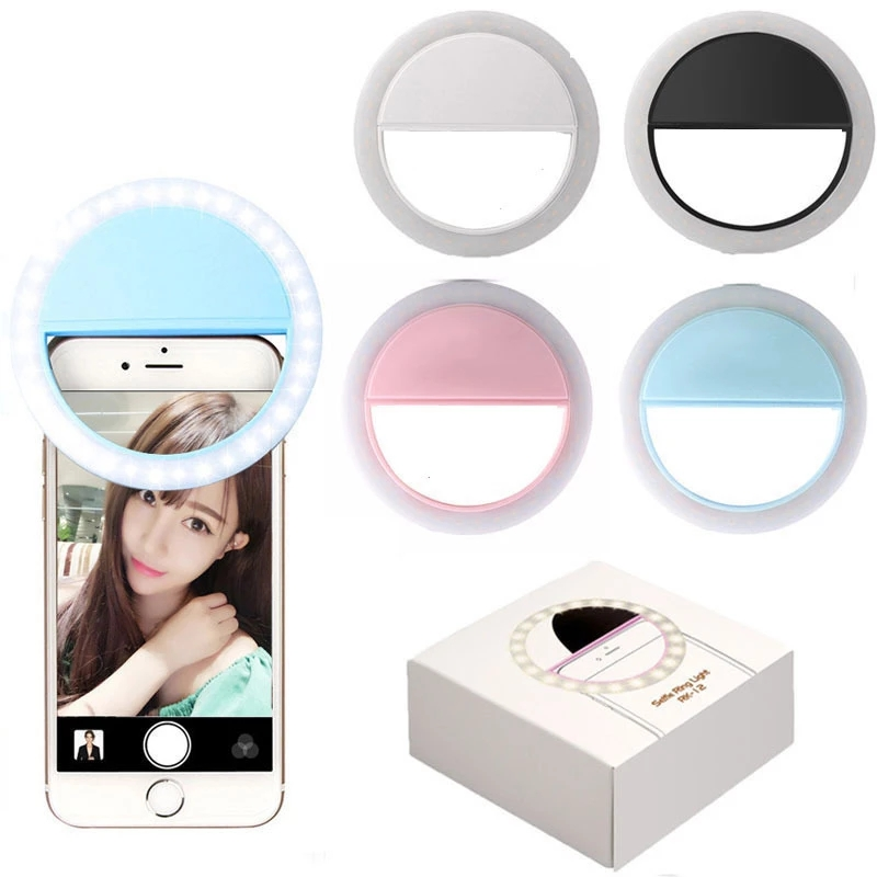 36 LED Lamps Selfie Light For Iphone Lighting Night Darkness Photography Ring Selfie Ring For All Smartphones aro de luz