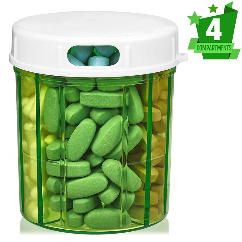 Round Transparent Plastic Box Medicine Box Pill Storage Box 4 Compartment Cylindrical Screw Rotation Lid Drug Container