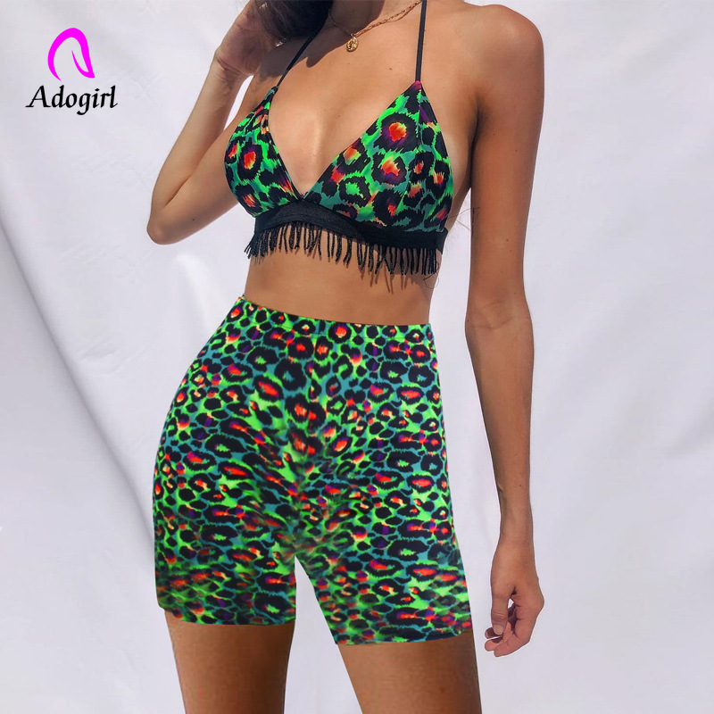 Leopard Two Piece Set Tracksuit Women Summer 2020 Festival Sexy Clothes Tassel Crop Top + Shorts Suit Club Outfits Matching Suit