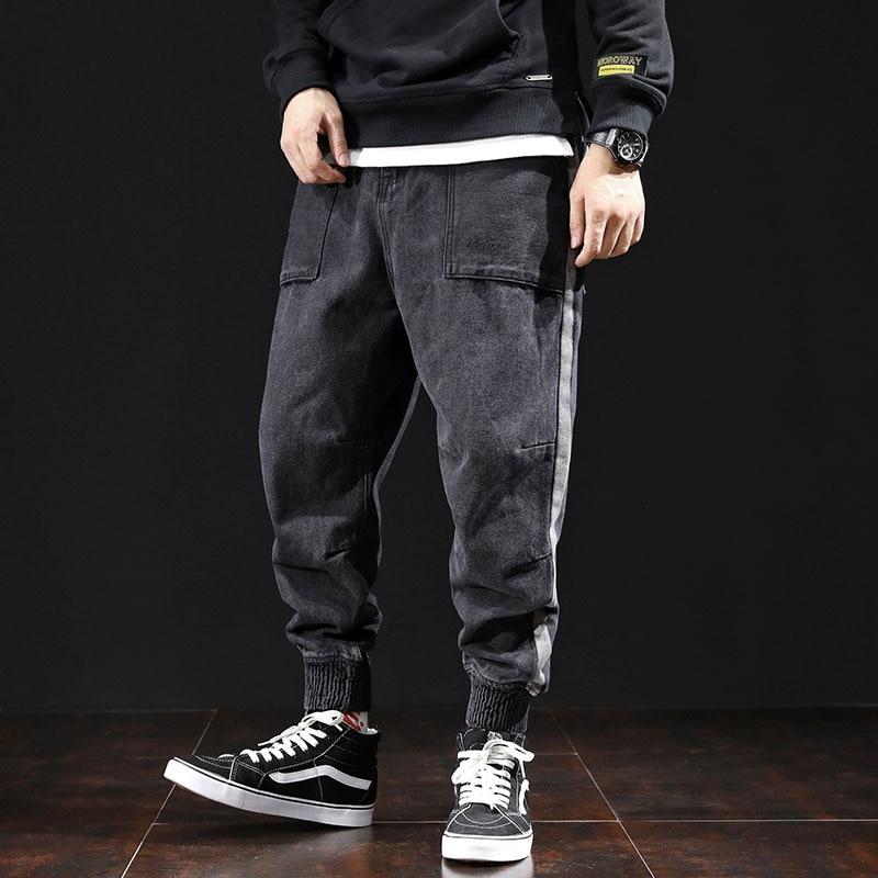 Autumn Fashion Men Jeans Vintage Designer Black Gray Side Stripe Denim Cargo Pants Harem Trousers Hip Hop Jeans Men Joggers