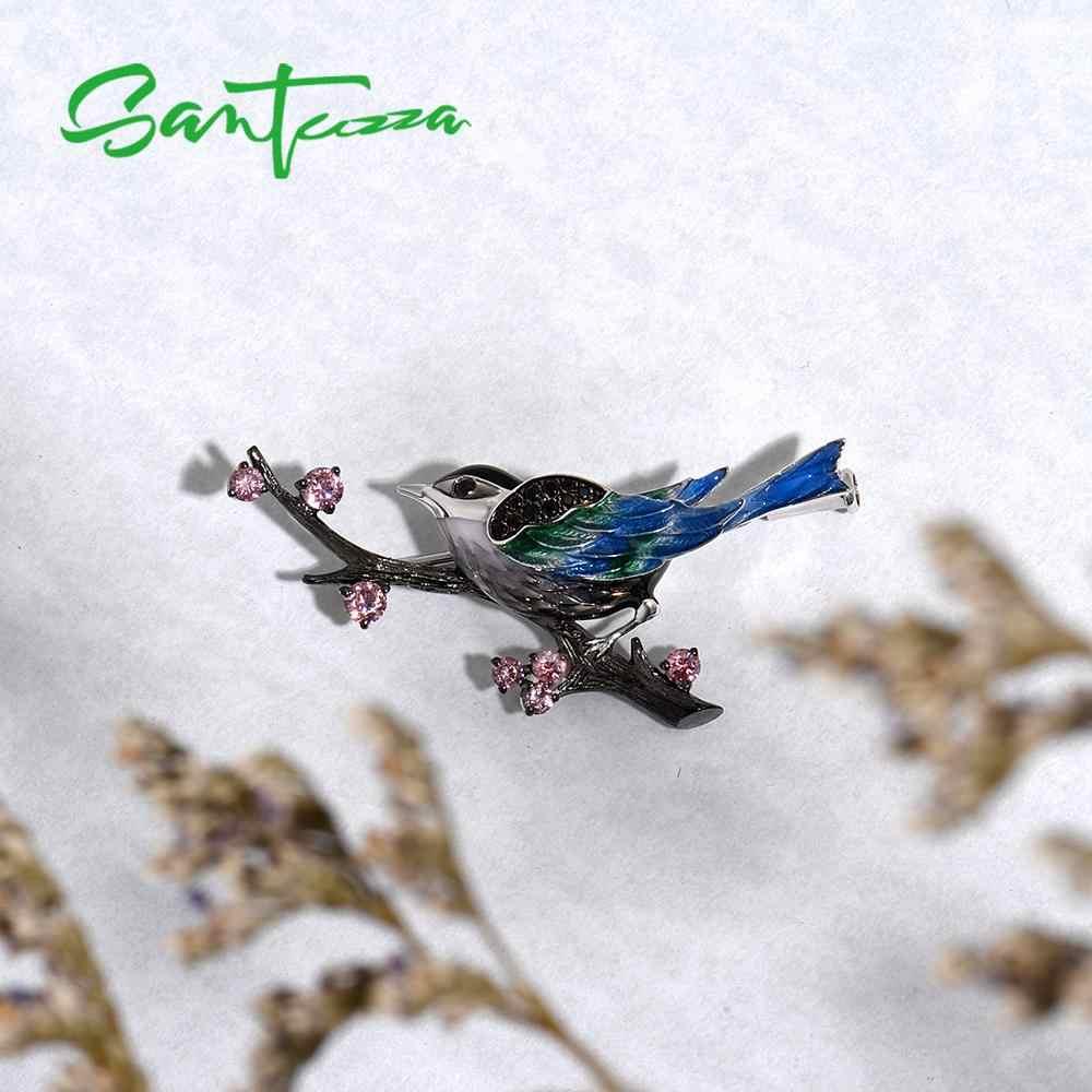 SANTUZZA Spilla In Argento Per Le Donne Pure 925 Sterling Silver Bella Uccelli Gazza Animale Alla Moda Gioelleria raffinata e alla moda Fatti A Mano Smalto