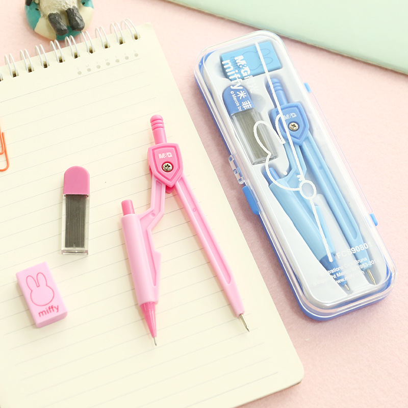 M&G Students Stationery FCS90801 Miffy Students Compasses Set Pencil Refill Rubber Eraser Pencil Refill