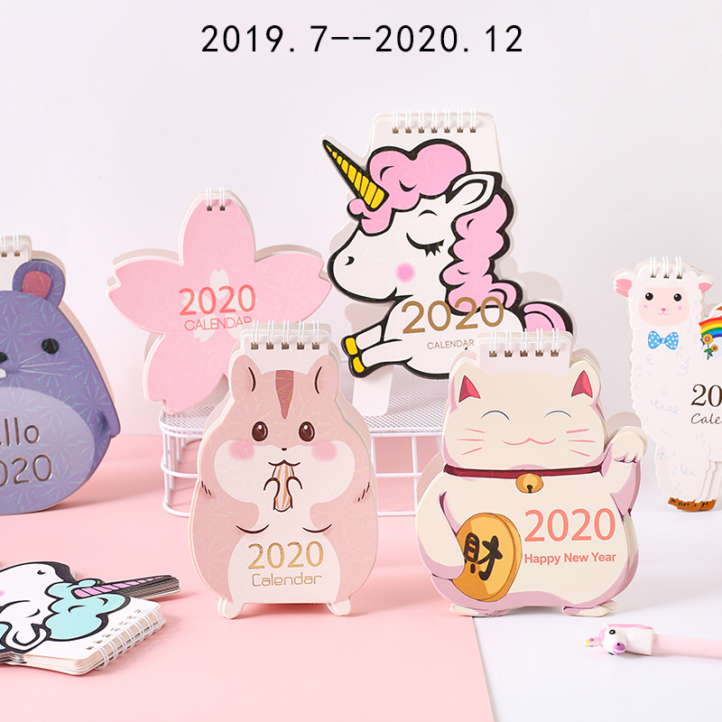 Cartoon 2020 Desk Calendar Decoration Cute Girl Creative Desktop Calendar Notepad Plan