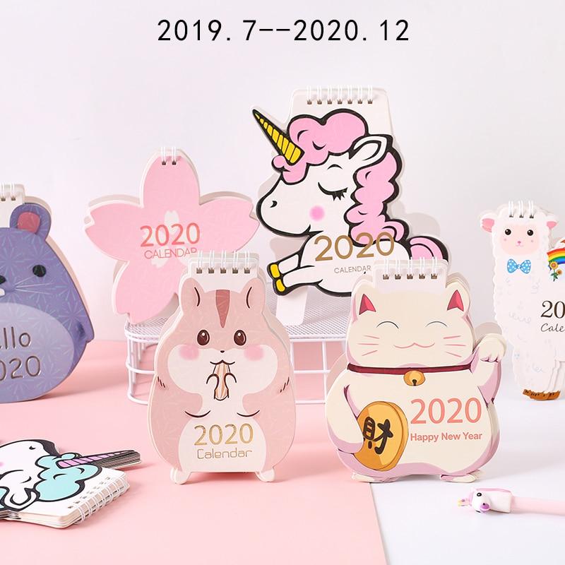 Cartoon 2020 Desk Calendar Decoration Cute Girl Creative Desktop Calendar Notepad Plan