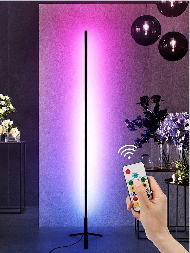 Минималистичная угловая Напольная Лампа с пультом дистанционного управления RGB затемнение напольные светильники Led 24 Вт стоящая лампа для спальни гостиной|Напольные лампы|   | АлиЭкспресс
