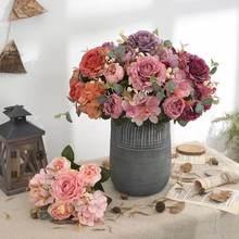 Flores artificiais retro seda rosa buquê hortênsia peônia vintage noiva segurando falso flor casa acessórios de decoração de casamento