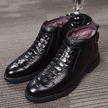 חדש חורף אופנה תנין סגנון גברים אמיתי פרה עור מגפי באיכות גבוהה סופר חם זכר חורף נעליים עמיד למים שלג מגפיים