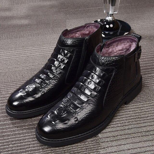جديد الشتاء موضة التمساح نمط الرجال حقيقية جلد البقر الأحذية عالية الجودة سوبر الدافئة الذكور الشتاء أحذية مقاوم للماء الثلوج الأحذية