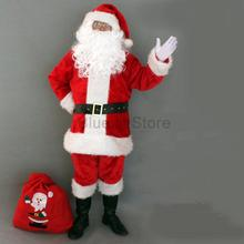 Cosplay Costume Adult-Suits Beard Christmas Santa-Claus Pants Belt 9pieces Gloves Hat