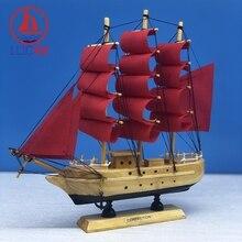 LUCKK 24CM Mediterranean Wooden Crafts Sailing Boat Figurine Red Canvas Vintage Ornament Office Desktop Decor Creative Kids Gift