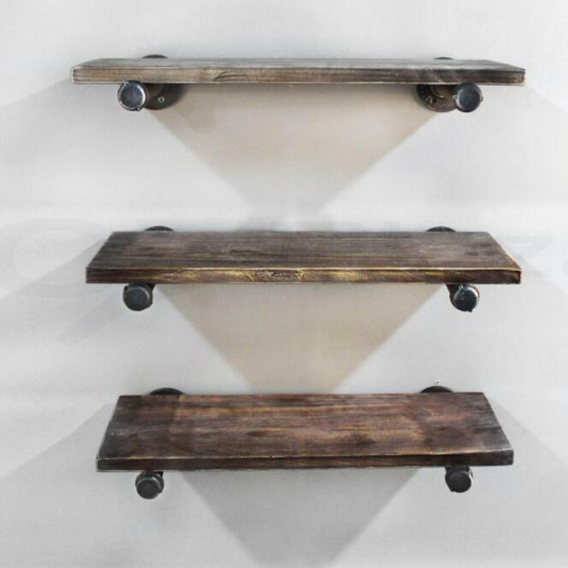 Wall Storage Shelf Holder Brackets Book Shelving Wandplank Industrial Steampunk Iron Pipe Home Wall Install Iron Shork Steampunk