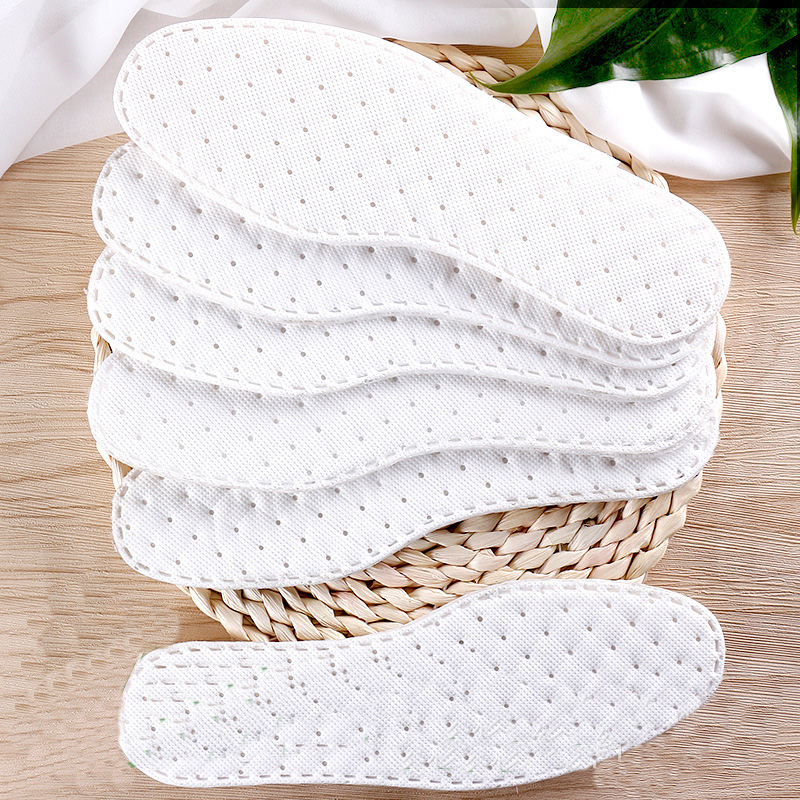Comfortable Soft Disposable Sanitary Insoles Sweat-absorbent Breathable Solid Insoles Unisex Non-woven Fabric White Insoles