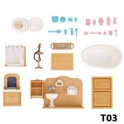 Forest Family Villa 1:12 Furniture Set Toy DIY Doll House Mini Pretend Play Restaurant Bathroom Set Furniture Toys for kids Girl