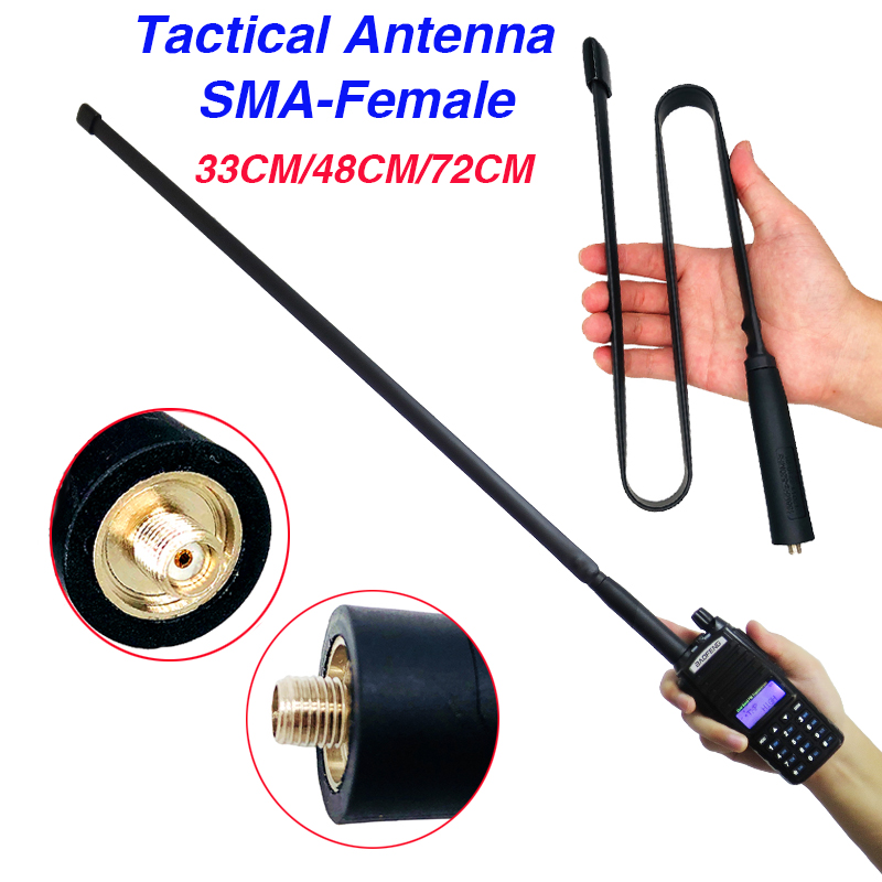 33/48/72cm CS Tactical Antenna Foldable SMA-Female Dual Band VHF UHF For Walkie Talkie Bf-888S UV-5R UV-82 UV 82 Two Way Radio