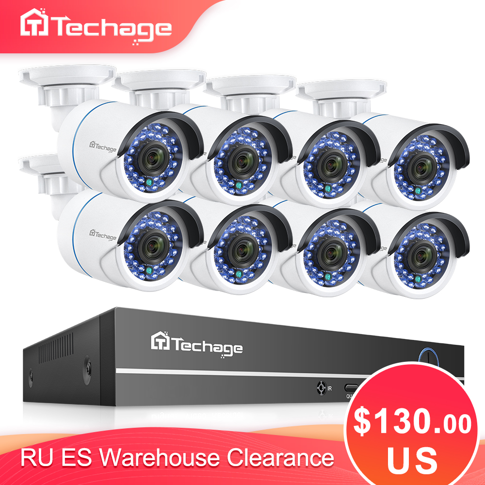 Kit de NVR POE H.265 8CH 1080P 2MP sistema de seguridad CCTV cámara de Audio IP IR al aire libre impermeable vídeo CCTV vigilancia Set 2TB HDD