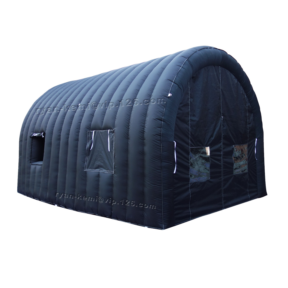 6mLx4mWx3.5mH Full Black Inflatable Tunnel Tent With Door Transparent Window For Events Inflatable Party Tent Car Garage Shelter