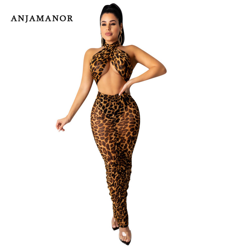 ANJAMANOR Snakeskin Cheetah Print Sheer Mesh Two Piece Set Sexy Club Outfits Women High Waist Skirt With Top Suit D91-AD35