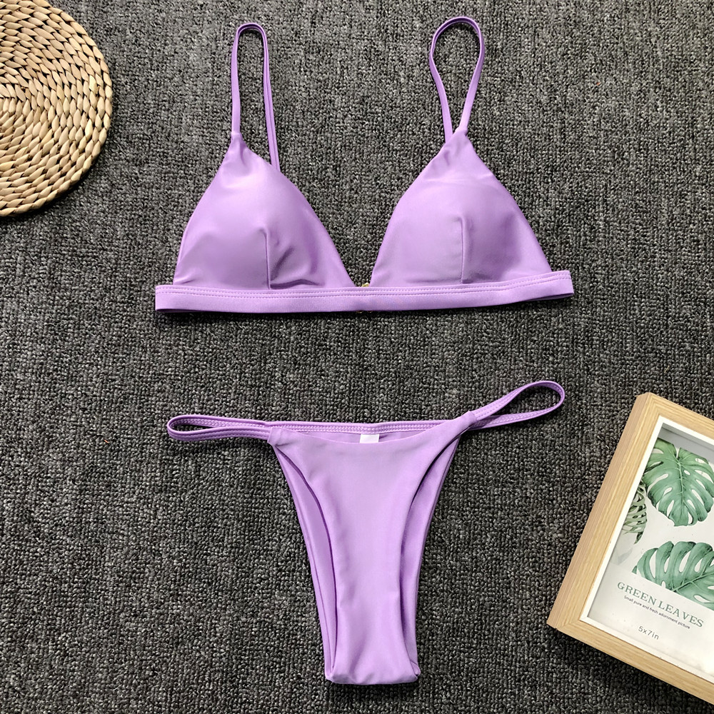 H167c11a833b64b85942d9426fe4618aaO 9 Colors Solid Bikini Set 2019 Sexy Push Up Swimwear Women Brazilian Swimsuit Low Waist Biquini Halter Two Pieces Bathing Suit