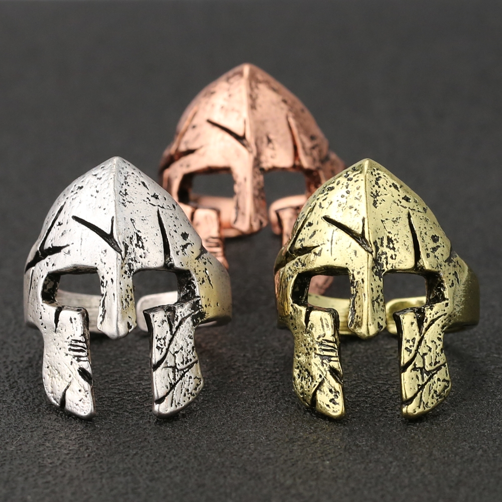 Anel de capacete de spartan, máscara de herói, esparacus, guerreiro, crânio, declaração vintage, antigo, punk, gótico, hiphop, roma, joias por atacado