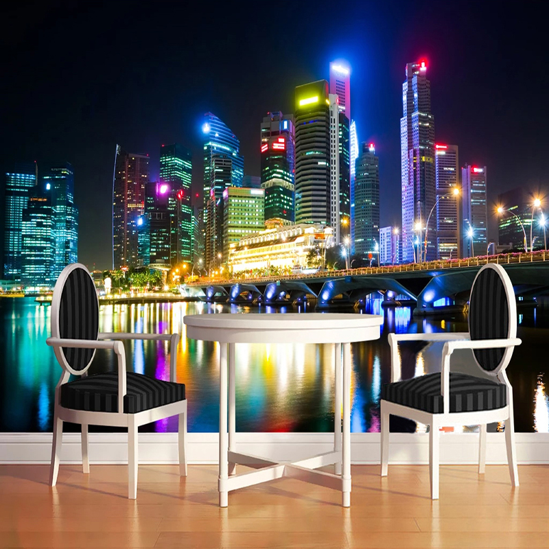 Drop Shipping Custom Any Size Mural  3D Stereo City Night Scenery Bridge Building Wall Painting   Bedroom Home Decor Fresco