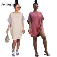 Adogirl Fashion Color Patchwork Womens Round Neck Slim Sweet Mini Dress Short Sleeve Vintage Streetwear Dresses Vestidos