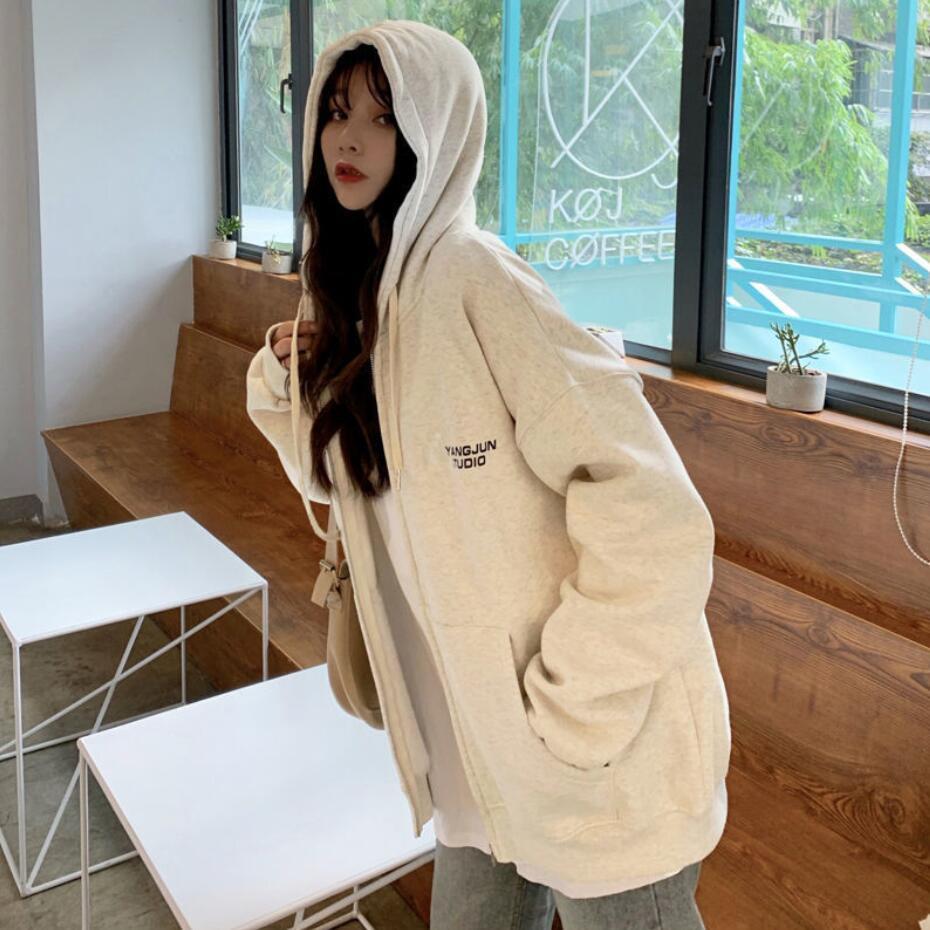 Harajuku Zip Up Sweatshirts Women Hoodies Korean Oversized Thin Clothes Plus Size Loose Casual Solid Color Shirt Long Sleeve Top 17