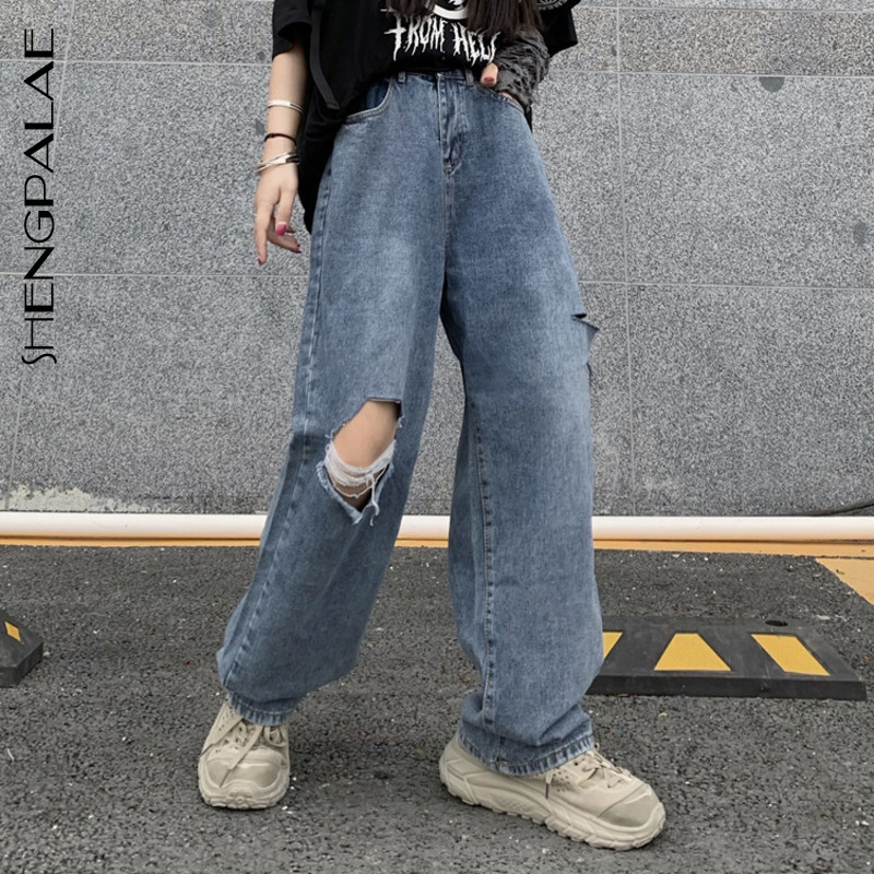 SHENGPALAE 2020 New Summer Casual Jeans Woman Long Trousers Cowboy Female Loose Streetwear Ripped Jeans Straight Pants ZA4412