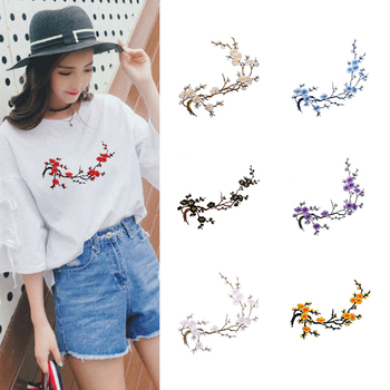 Embroidery Big Wintersweet Patches Flower Cloth Paste Delicate Accessories Diy On Transfer For Shirt Coat Bag Applique