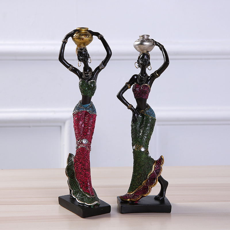Africa Women Resin Statue Home Decoration Accessories African Statues Resin Sculpture Ornaments African Woman Creative Staue