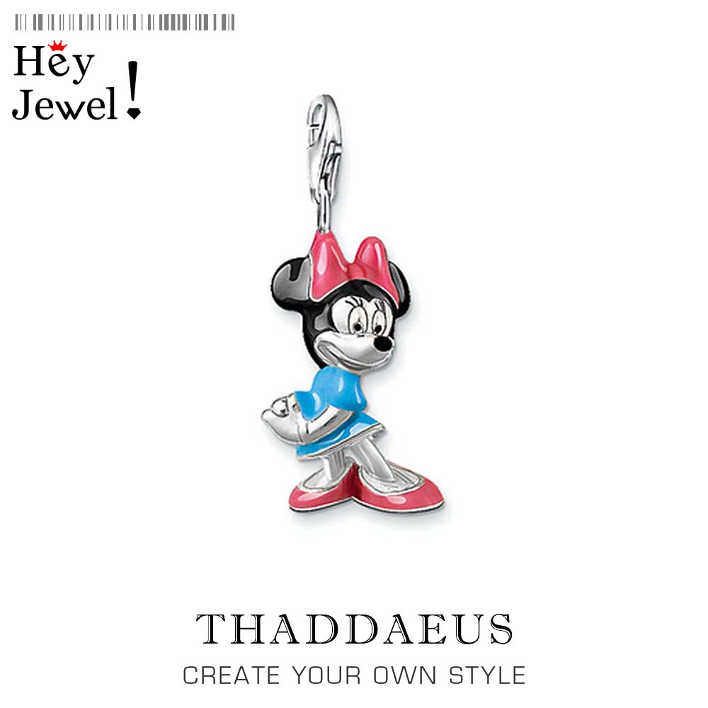 Genuine 925 Sterling Silver Mouse Doll Charm Pendant 2019 New Gift Fit Charm Bracelet For Women Girls DIY Jewelry Making