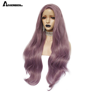Image 3 - Anogol Purple Long Natural Wave High Temperature Fiber Hairline Hair Wigs Soft Swiss Synthetic Lace Front Wig for White Women
