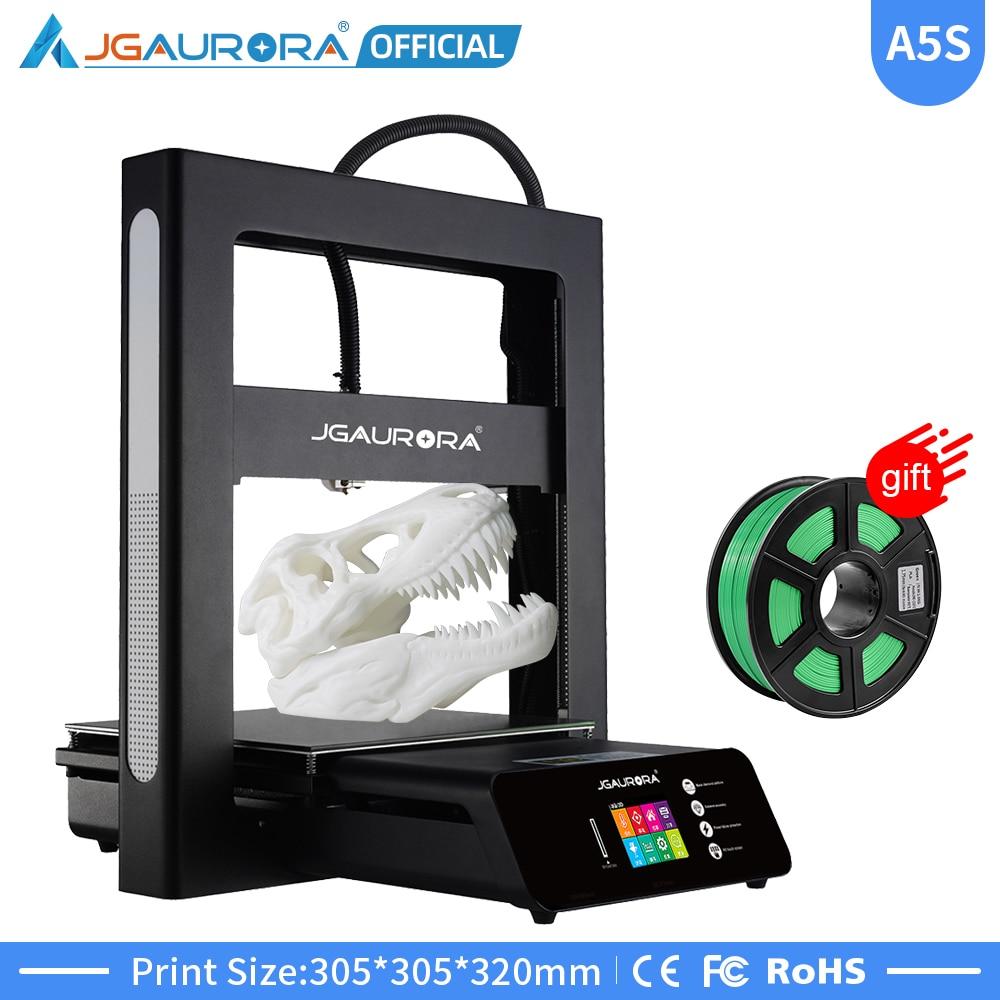 JGAURORA 3D принтер A5 обновленный A5S полностью металлический Набор Diy Очень высокая точность большой размер печати 305x305x320 мм Impressora 3D