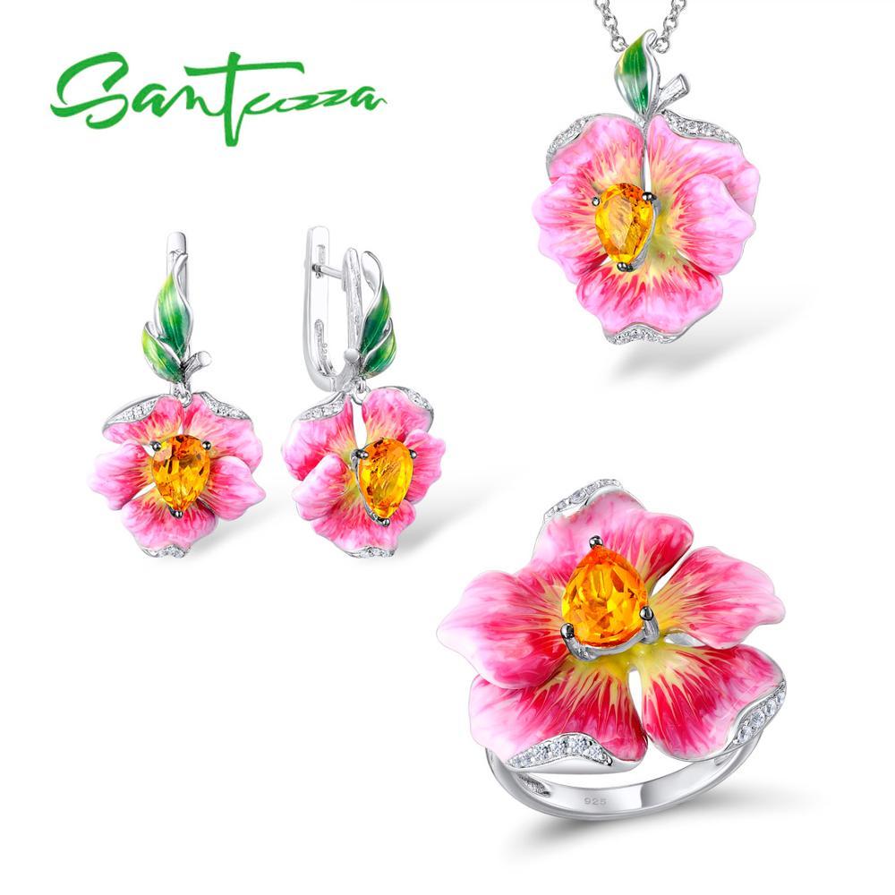 SANTUZZA Jewelry Sets For Woman Pure 925 Sterling Silver Jewelry Set Flower Earrings Pendant Ring Fine Jewelry HANDMAKE Enamel