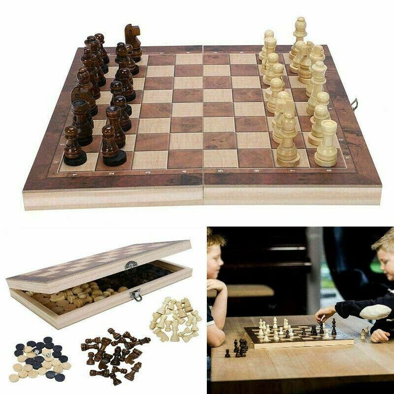 44*44cm pliant en bois jeu de dames d'échecs International jeu de société pliable jeu drôle Chessmen Collection jeu de société Portable