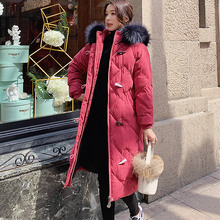 Women Winter Coats Long Cotton Casual Fur Hooded Jackets Thick Warm Parkas Female Fashion Overcoat Coat