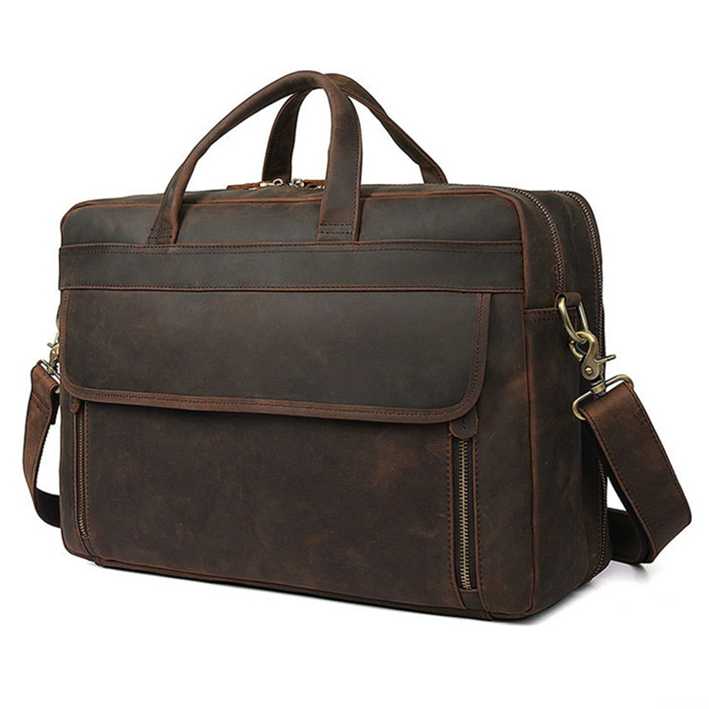Luufan High Quality Genuine Leather Men Bag Real Cowhide Briefcase For Business Travel 17 Inch Double Layer Zipper Laptop Bag