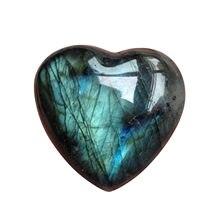 Coração de cristal labradorite palma pedra cura pedra preciosa de quartzo preocupação pedra stress aliviar decoração para casa pingentes acessórios