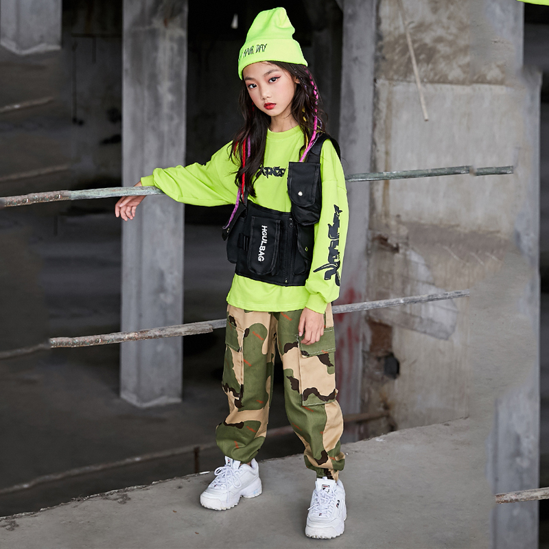 Hip Hop Clothing For Kids Children Street Dance Costume Girls Hiphop Jazz Costumes Ballroom Sweatshirt Camouflage Pants DQS3301