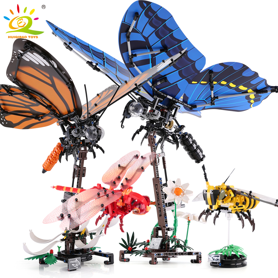 HUIQIBAO Simulated insect Bee Wrap Butterfly dragonfly Building Blocks Technic animals city Bricks Educational Toys for Children