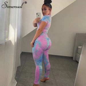Simenual Tie Dye Sporty Workout Two Piece Set Women Fitness Short Sleeve Active Wear Tracksuits 2020 Crop Top And Leggings Sets