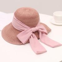 Summer elegant bow with straw hat lady folds Korean big eave beach hat anti ultraviolet sun hat.