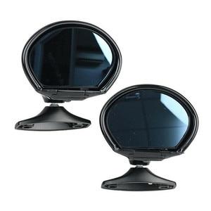 Image 1 - Universal Vintage Black Car Door Wing Blue Anti glare Side View Mirror w/Gaskets