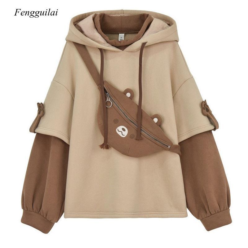 Aesthetic Bear Anime Hoodie Women Korean Kawaii Crewneck Long Sleeve Oversized Streetwear Kpop Fall Winter Clothes Tops