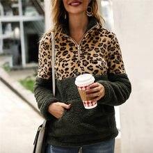 Mulheres Leopardo Da Camisola Inverno Quente Camisolas Pullover Plus Size Metade Zíper de Lã Quente Camisola do Pulôver Para As Mulheres #40