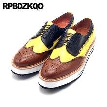 Туфли оксфорды ручной работы в британском стиле, криперы, итальянская платформа, брендовые броги с крыльями, модные мужские классические туфли, Роскошные, Италия