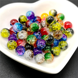 50pcs 8mm Double Colored Cracked Beads Spacer Beads For Jewelry Making Handmade DIY(China)