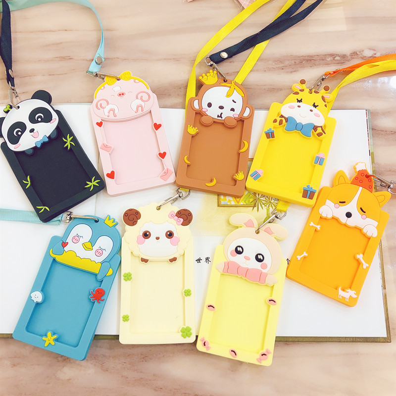 Cartoon Cute Silicone ID Card Holder Credit Card Bus Card Case Key Holder Ring With Lanyard For students kids school supplies image